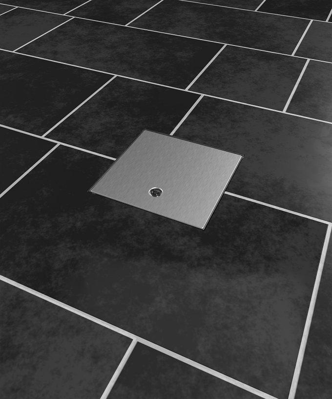 floor box 2003A 3 slots in the tile floor lid closed