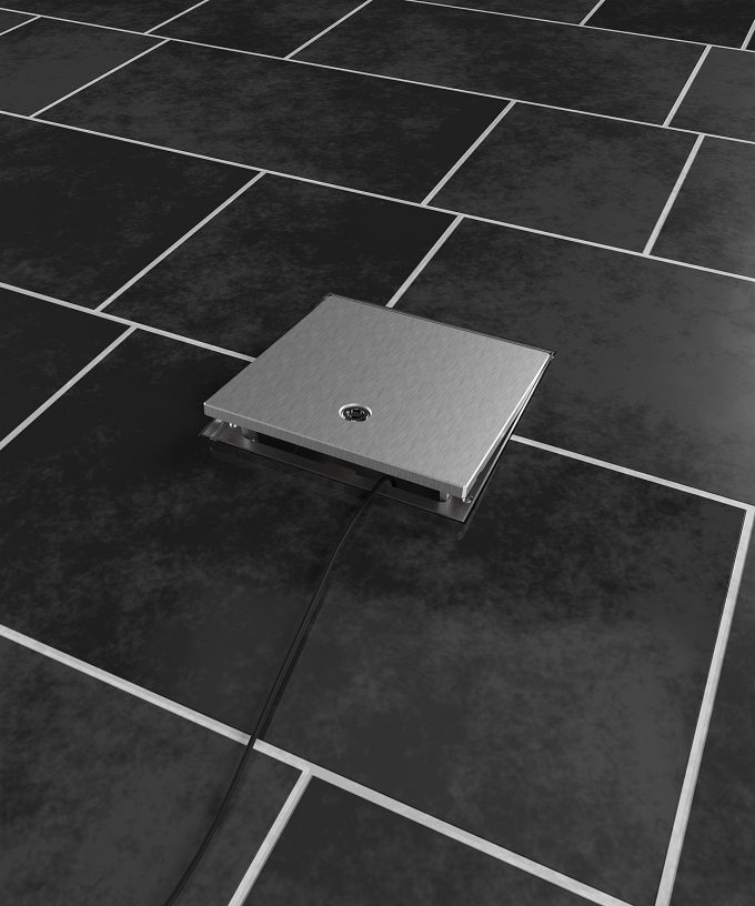 floor box 2003A in the tile floor cable plugged