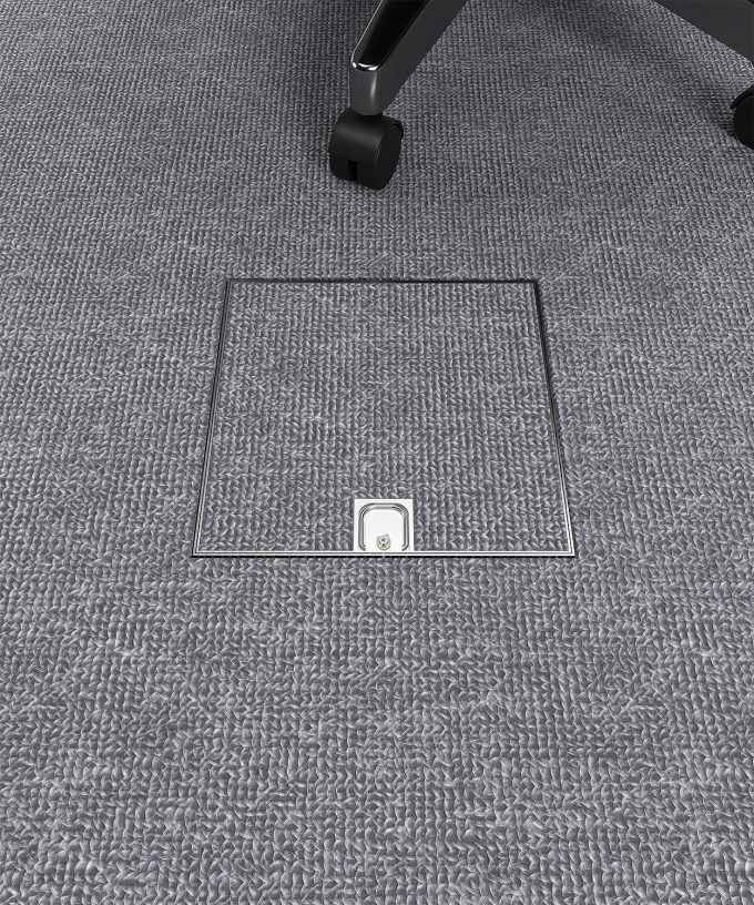 floor box 2004B built in carpet floor in the office lid closed