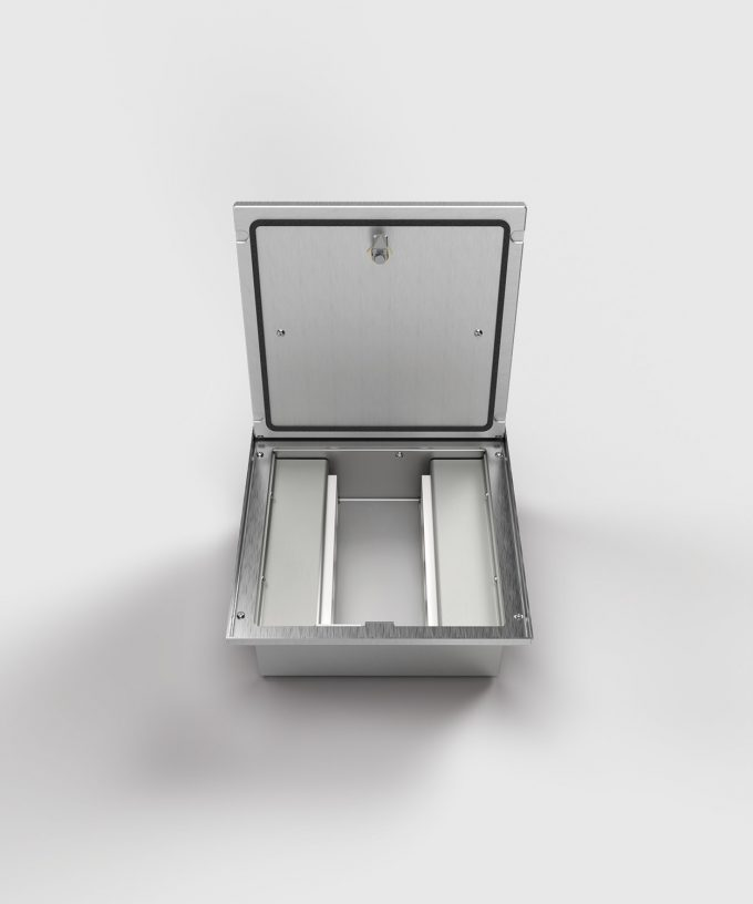 floor box 2008A with 8 slots lid closed frontal view