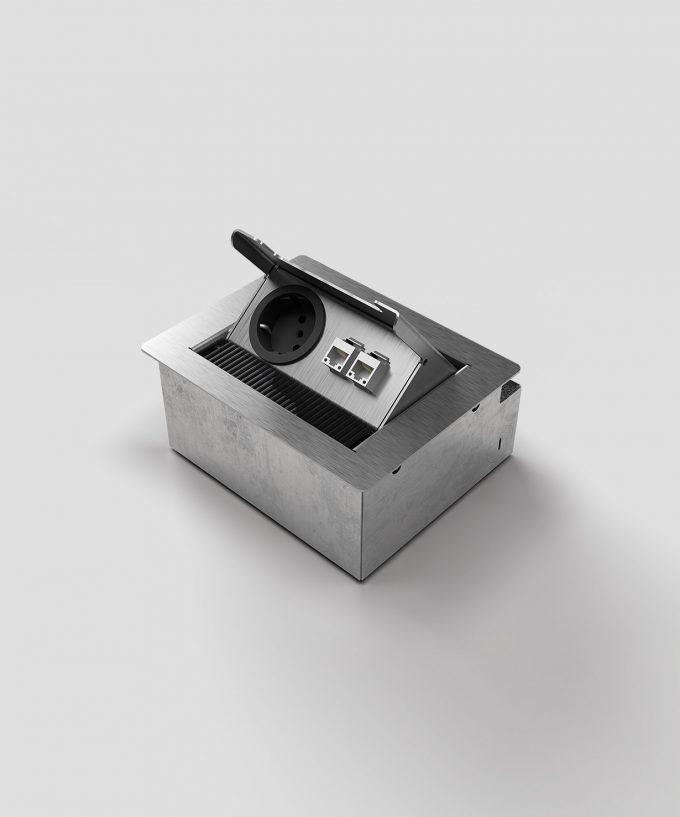 floor socket desk socket 3202E lid open with Schuko and RJ45