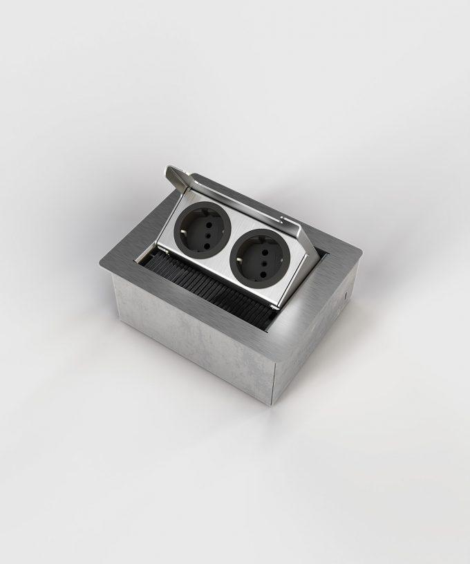 floor socket desk socket 3202E lid open with two Schuko sockets not built in