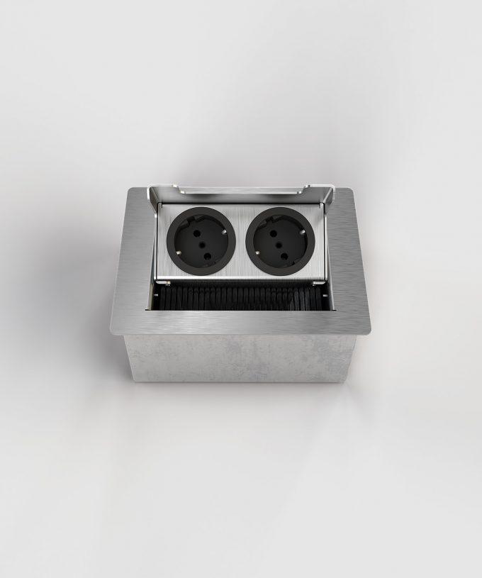 floor socket desk socket 3202E lid open with two Schuko sockets not built in view frontal