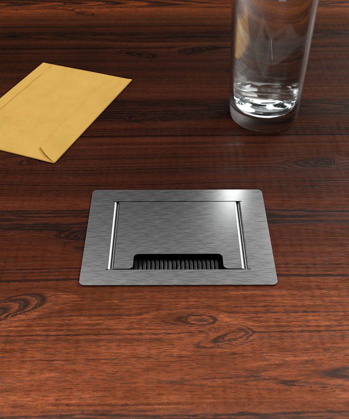 desk socket 3202E lid closed with brush outlet built in a wooden desk