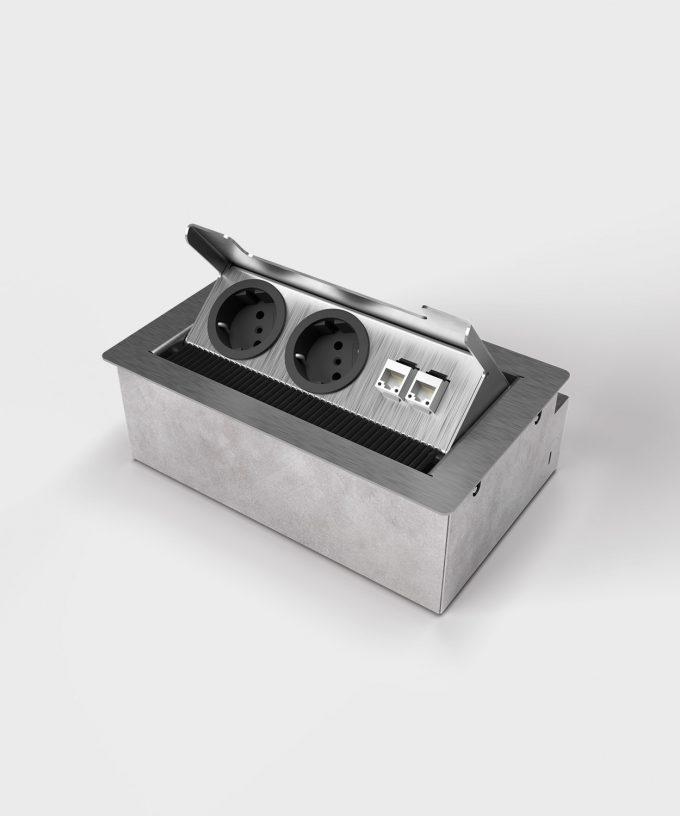 floor socket 3203E with 2x Schuko and RJ45 open