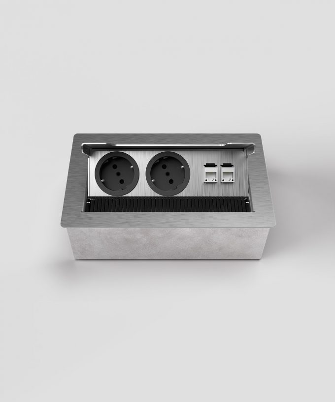 floor socket 3203E with 2x Schuko and RJ45 open view frontal