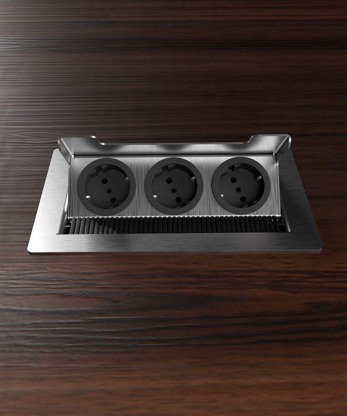 floor socket 3203E with 3x Schuko built in wooden floor