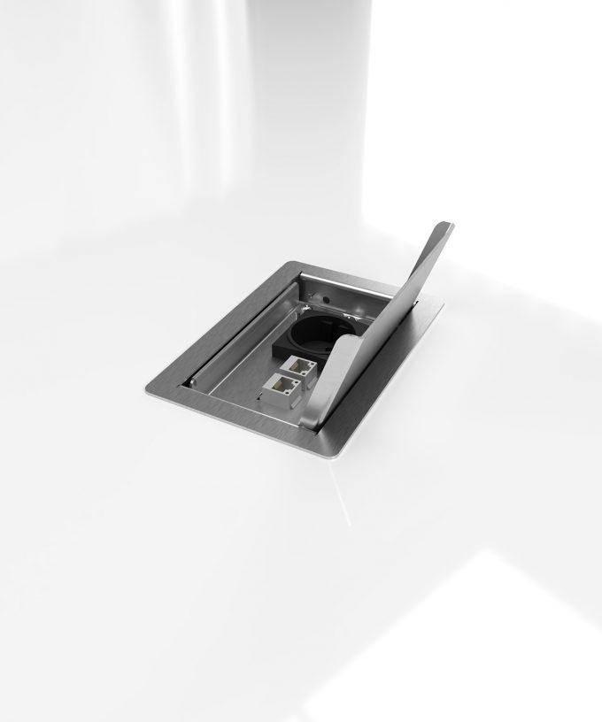 floor socket 3302E built in floor lid open