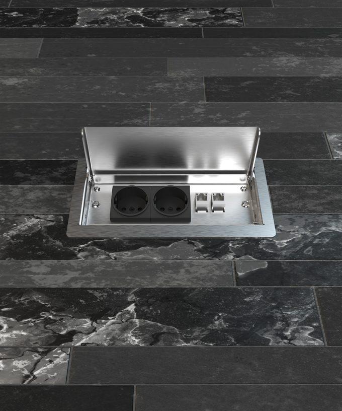floor socket 3303E built in tile floor lid open view frontal