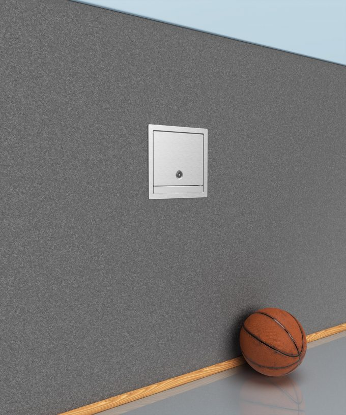 wall distributor 5503A mounted in the wall in a sports hall
